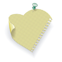 Paper pinned pushpin