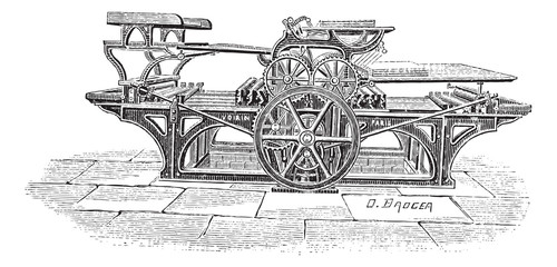 Double printing press vintage engraving