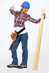 Happy woman carpenter