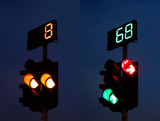 Traffic Light with Counter at Night