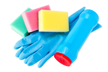 set of cleaning, rubber glove, sponge, plastic bottle