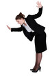 Businesswoman walking imaginary tight rope