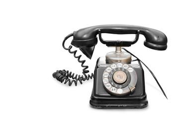 Telefono vintage su fondo bianco