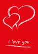 I love you Grußkarte Zwei Herzen Liebesbrief