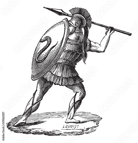 The Greek soldier with his armor vintage engraving