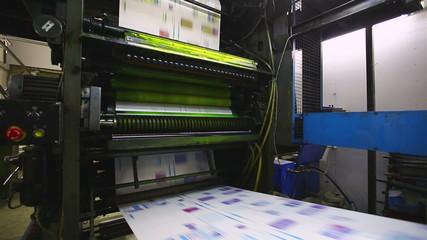 production line pf print shop typography machine