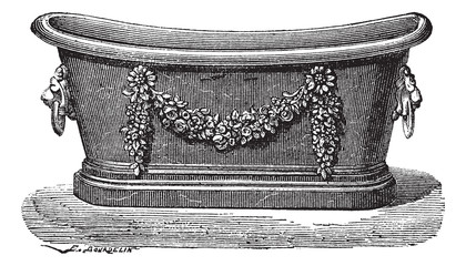Zinc bathtub vintage engraving