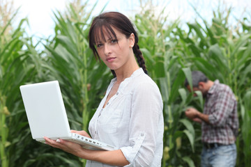 Farming couple with a laptop in a field of corn