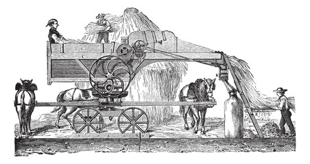 Threshing machine or thrashing machine vintage engraving
