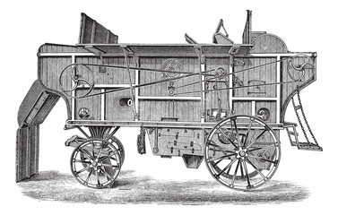 Thresher machine (Hornsby) vintage engraving