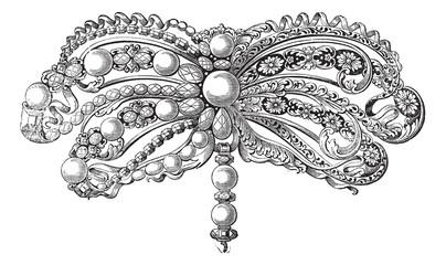 Enamelled Brooch vintage engraving