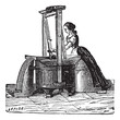 Washerwoman washing clothes vintage engraving