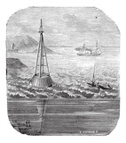 Buoy out of wooden at the entry of the Gironde vintage engraving