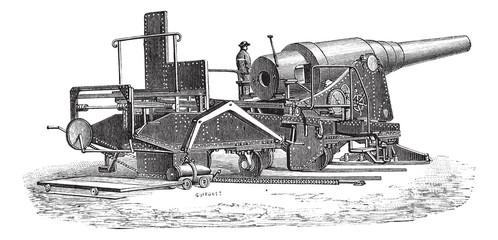 Krupp cannon (72 tonnes) vintage engraving