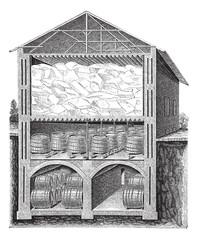Iced beer cellar vintage engraving
