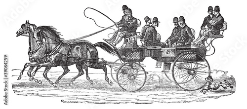 Shooting-brake vintage engraving