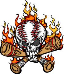 Softball Baseball Skull and Bats Flaming Cartoon Image