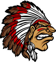 Indian Chief Mascot Head Cartoon Vector Graphic