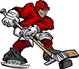 Cartoon Hockey Player Skating Vector