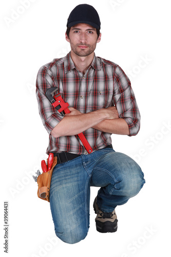 Craftsman on his knees