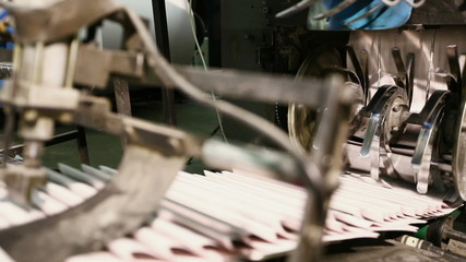 close-up newspaper on production line in a print shop