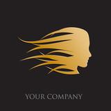 Logo golden girl fast in the wind # Vector
