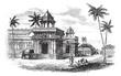 Tanjore Palace, vintage engraving.