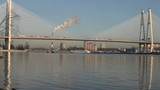 modern cable-stayed bridge over the River Neva poster