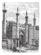 Tehran. -Former South Gate, vintage engraving.