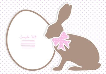 Brown Bunny With Pink Bow Dots Background