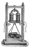Fig. 7. - Electro-magnet weight load, vintage engraving. poster