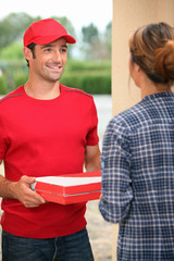 Man delivering pizza