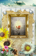 Magic mirror in the field of sunflowers