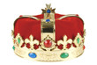 Kings crown on white background with clipping path.