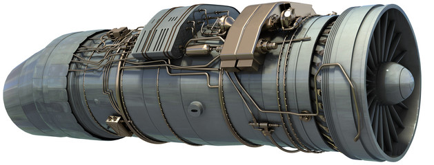 jet engine, 3d render isolated on white