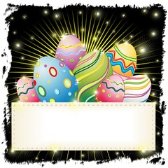 Uova Pasqua Astratto Banner-Easter Eggs on Banner-Vector