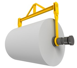 Giant roll of paper, 3d render isolated on white