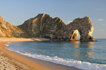 Late evening light at Durdle Door Lulworth Dorset England.
