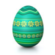 Turquois painted easter egg with flower pattern
