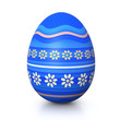 Blue painted easter egg with flower pattern