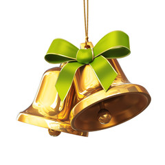 Pair of golden bells with green bow
