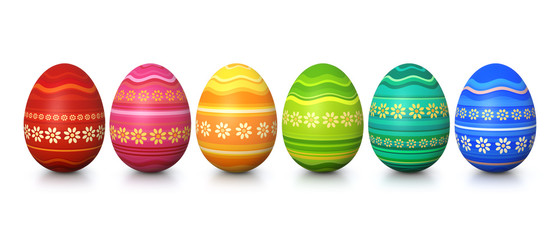 Colorful painted easter eggs - panorama
