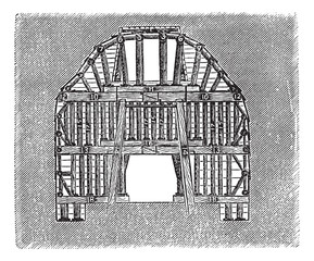 Wooden Tunnel Design, vintage engraving