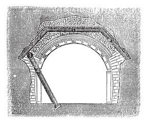 Concrete Tunnel, vintage engraving