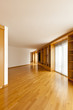 beautiful apartment, interior, wall bookcase in empty room