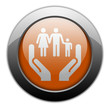 "Orange Metallic Orb Button ""Social Services"""