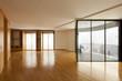 beautiful apartment, interior, empty room with windows