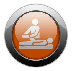 "Orange Metallic Orb Button ""Physical Therapy"""