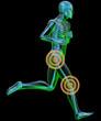Uomo scheletro in corsa dolore ginocchio