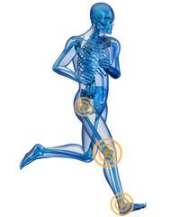 Uomo scheletro in corsa